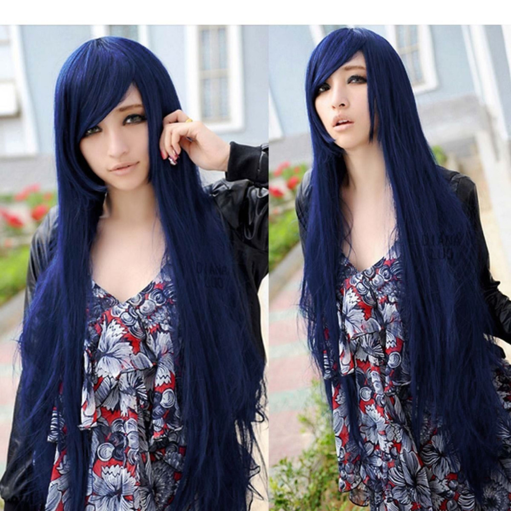 deep blue long hair straight wig