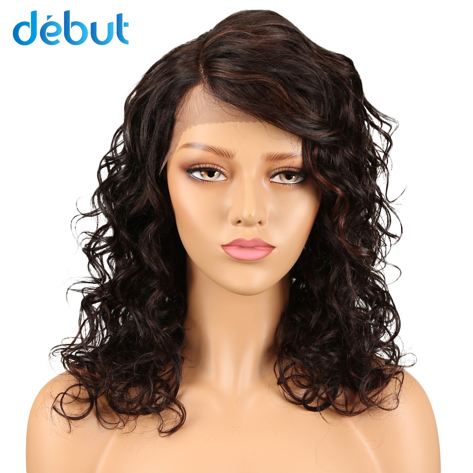 Debut  Brazilian Lace Bouncy Curls Remy Hair Human Hair Wigs For Black Women Lace Front Wigs With Baby Hair Piano Color Blonde