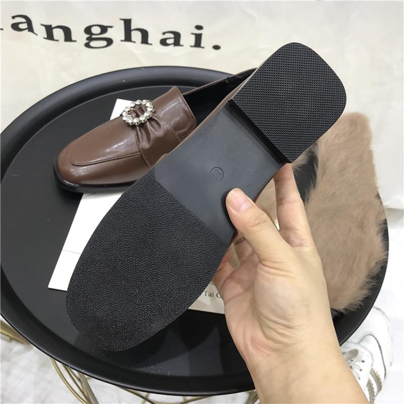 Femme Ballerines D'hiver Chaussures Pour Femmes Plates on Noir Dames marron Mocassins Noir Slip Wellwalk dzPq5nx6wd