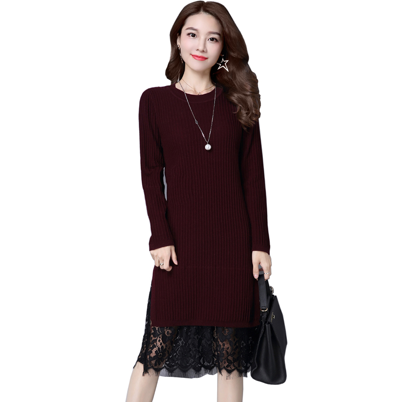 Casual Winter Dress Knitted Thick Sweater Dress Warm Women Cotton Dress Pullover Female Autumn Sweater Lace Dress Vestidos multic femme skullies autumn beanies winter warm chapeau women hat female knitted cap ladies bonnet
