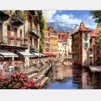 2017 Diy Oil Painting Waterside Town Canvas Paintings With Frame Home Decoration By Numbers Scenery Pictures