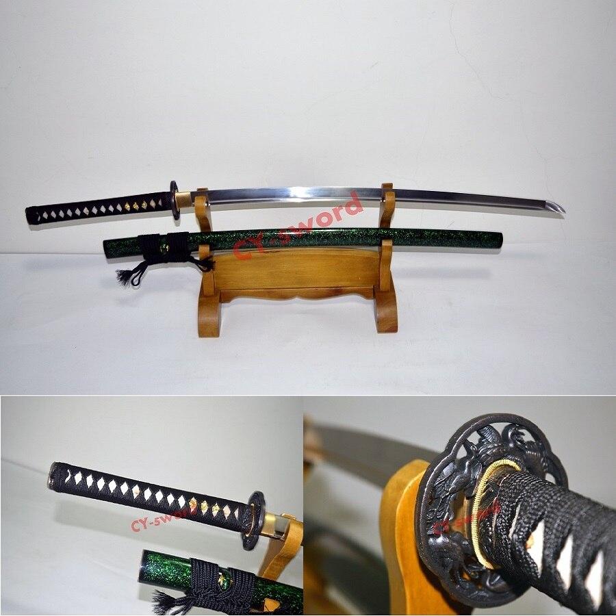 Forgés à la main Trempé 9260 Printemps Full Steel Tang Lame Japonais Katana Samurai Bataille Prêt Épée tranchante