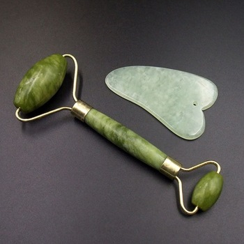 2pcs Facial Massage Jade Roller Face Neck Natural Stone Health Care Body Jade Gua Sha Board Beauty Tool Set #281270