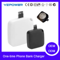 500mAh ONE TIME USE EMERGENCY CHARGER Charger Power Bank for iPhone/Android 50pcs/lot