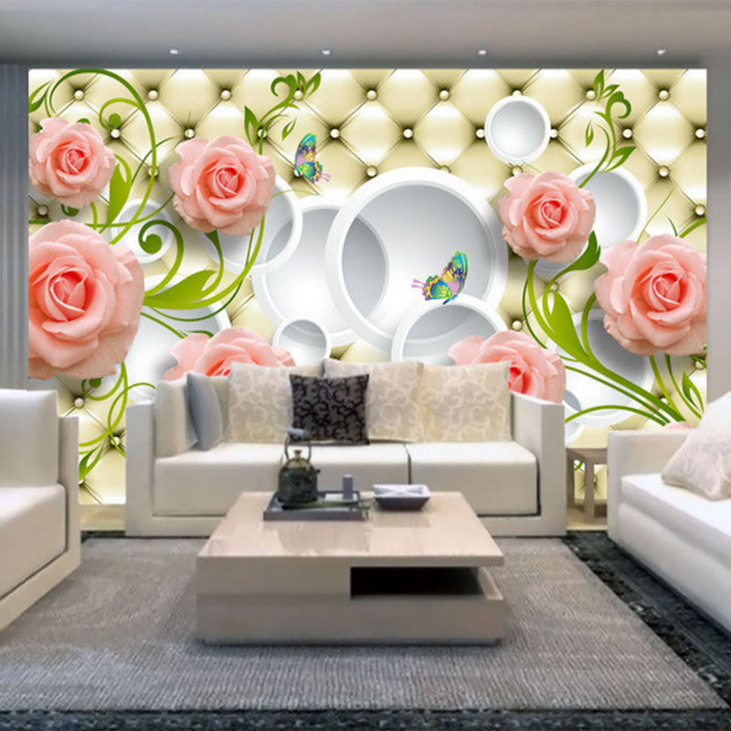 photo wallpaper Romantic painting Pink Stereoscopic rose flower romantic living room bedroom wall paper luxury wall mural book knowledge power channel creative 3d large mural wallpaper 3d bedroom living room tv backdrop painting wallpaper