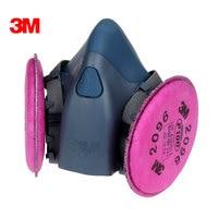 3M 7502+2096 Half Facepiece Mask Reusable Respirator P100 Respiratory Protection with Nuisance Level Acid Gas LT112