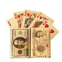 Póker-cartas de alta calidad para juego de ruleta rusa, cartas de juego de dólar dorado de 24k para 100% de ruleta rusa Texas Hold'em, impermeables de PVC