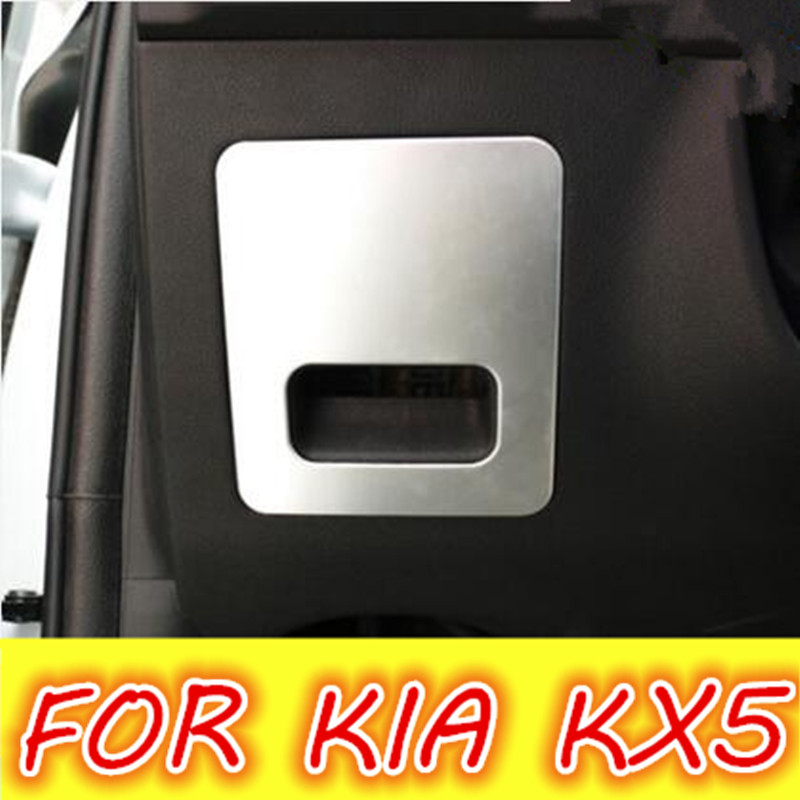 Car Stainless Steel Main Glove Box Handle Cover Glovebox Protection Trim Sticker For Kia Sportage Kx5 2016 Accessories car front bumper mesh grille around trim racing grills 2013 2016 for ford ecosport quality stainless steel