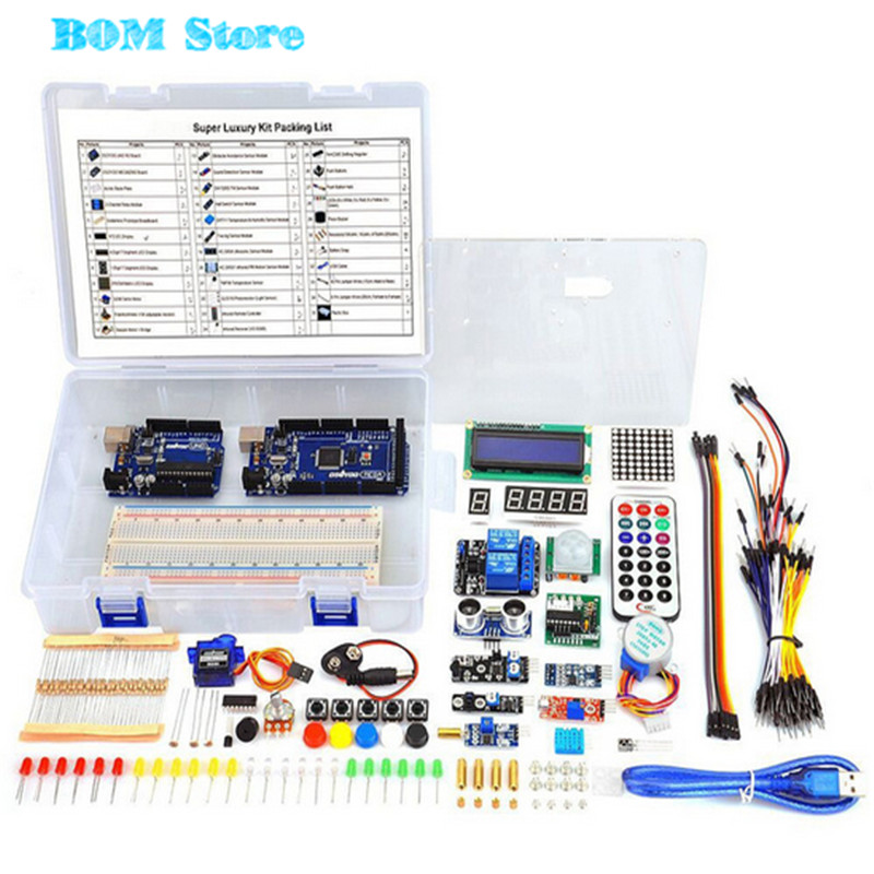Starter Kit For Arduino UNO R3 Learning Basic Suite &Mega2560 Board for LCD Servo Motor Relay free shipping 1 set starter kit basic learning suite for uno r3 kit upgraded stepper motor led jumper wire kits for arduino with retail box
