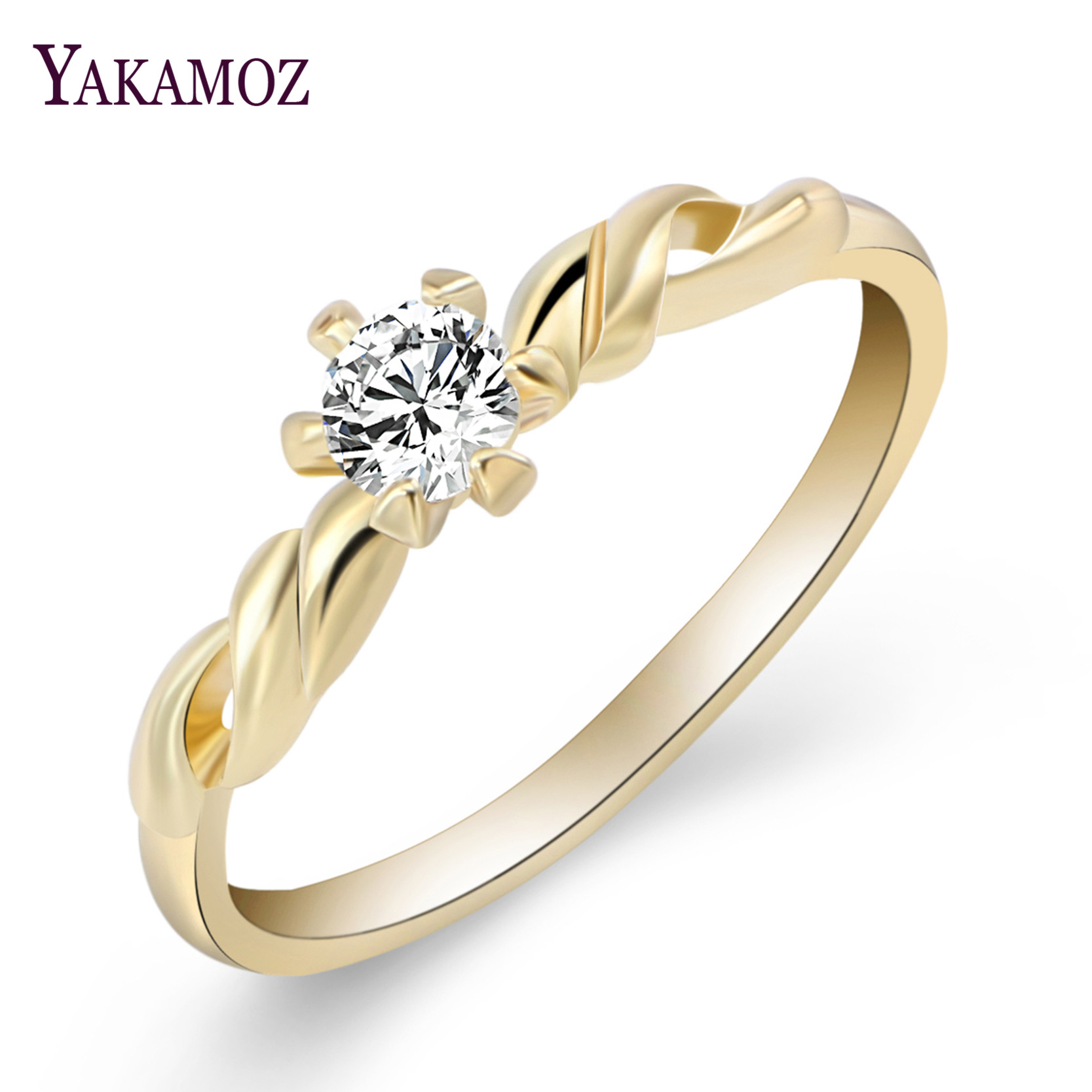 2017 Wholesale Cubic Zirconia White Gold Color Jewelry Fashion Round Engagement  Ring Wedding Accessories Rings For