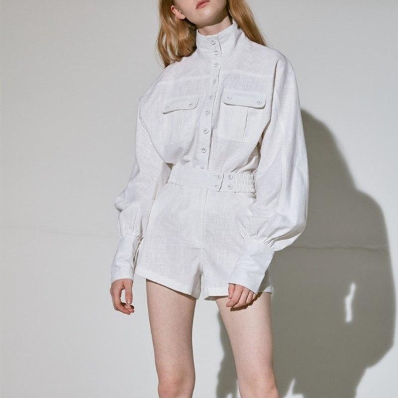 Printemps Ensembles Streetwear Deux Manches Haute Lanterne Femelle Blouse White Mode Blanche Chemise Femmes Taille Costumes Shorts Pièces Vintage r75rwqF
