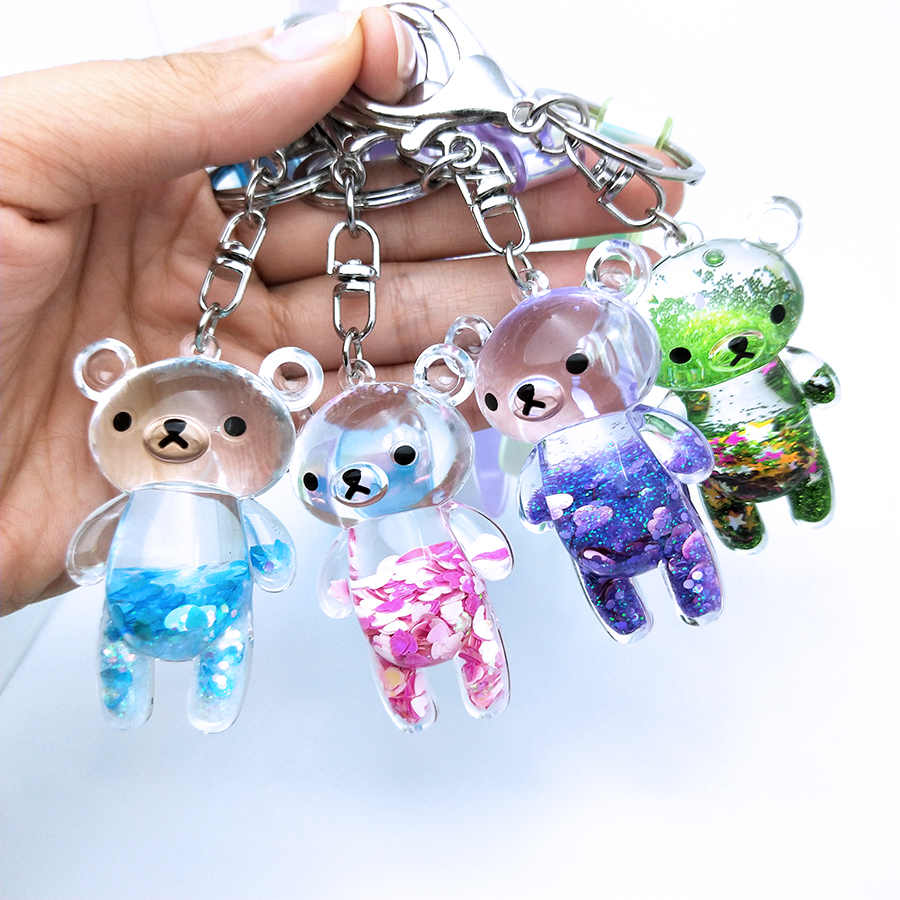 Liquid Keyring Glitter Bear Quicksand Keyring Acrylic Key Fob Backpack Pendant Couples Women Men Boyfriend Friend Keychain Gift