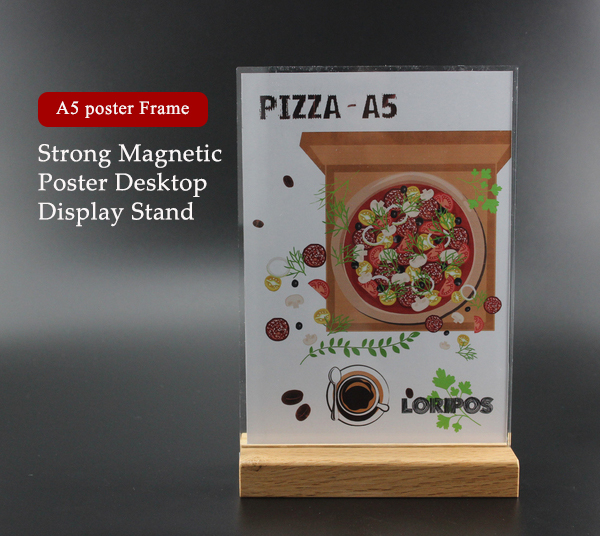 A5 Wooden bottom acrylic frame label holder stand poster