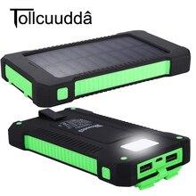 Tollcuudda 10000 мАч Солнечный Запасные Аккумуляторы для телефонов Dual USB Запасные Аккумуляторы для телефонов Водонепроницаемый Мощность Bank Bateria внешняя Портативный Панели солнечные со светодиодной
