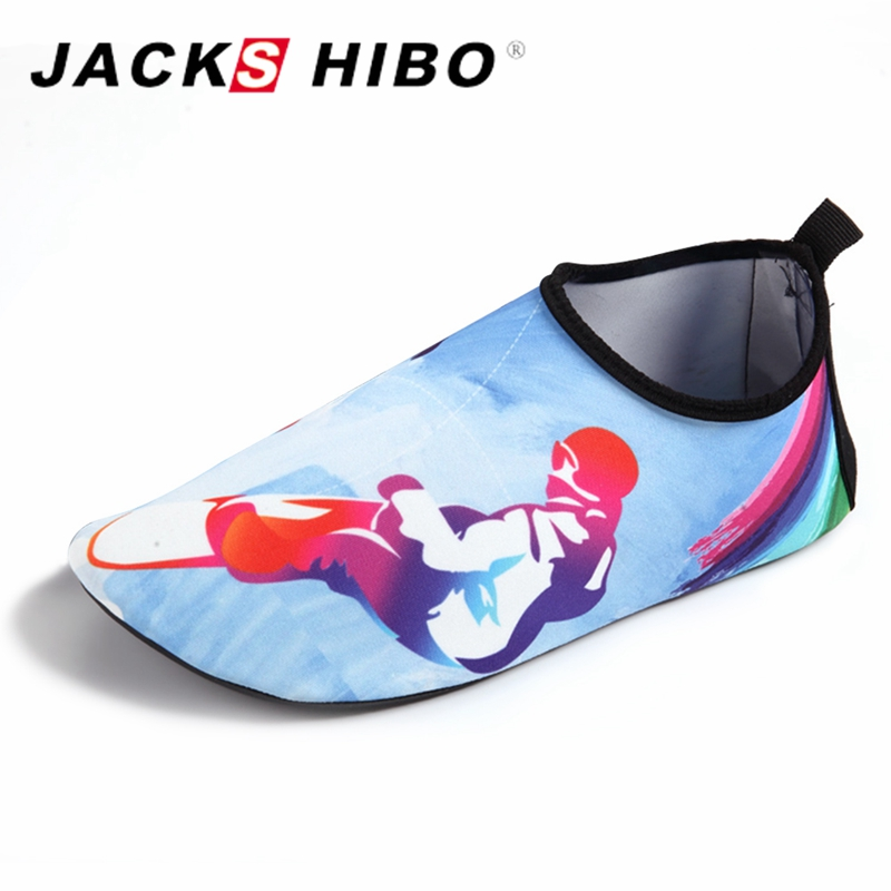 JACKSHIBO 2018 New Women Aqua Slippers Beach Water Shoes for Women Big Size Pattern Waterpark Slides Slippers Zapatos Mujer merrto 2016 new brand women beach water aqua shoes upstream fishing wading shoes water breathable sneakers 18376 1