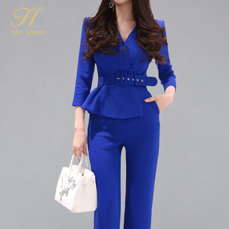 H Han Queen 2019 Summer Korean Style OL Solid Color Jumpsuits Women V-neck Ruffles Belted Long Romper Formal Work Wear Playsuits