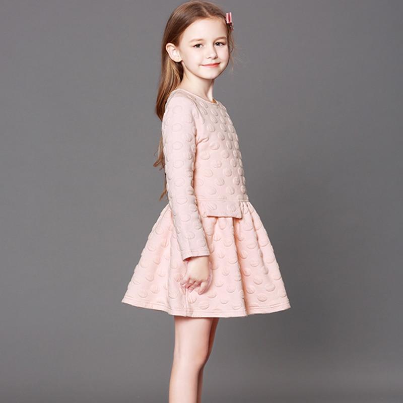 Filles robe à manches longues automne et hiver robe de princesse nouveaux grands enfants Europe et les états-unis robe épaissie