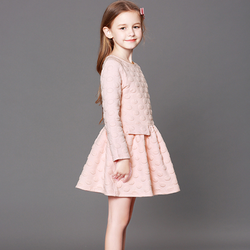 Girls long-sleeved dress autumn and winter princess dress 2018 new large children Europe and the United States thickened dress купить