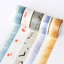 HIgh quality scrapbooking adhesive flower colored paper washi tape 5pcs/lot