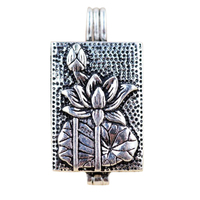 925 Sterling Silver Floating Memory Locket Pendants Lotus Design Buddhist Scripture Antique Style Evil Shurangama Mantra