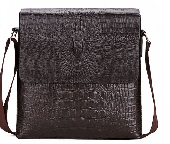 New Fashion Crocodile Pattern Male Crossbody Messenger Shoulder Bag Small Business Clamshell Bag Retro Multifunction BagL116