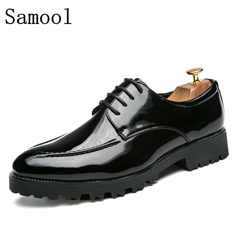 2017 New Arrival Autumn Winter Men Dress Shoes Shadow Patent Leather Luxury Fashion Comfortable Wedding Shoes Men Oxford Shoes