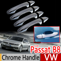 For VW Passat B8 Chrome Handle Covers Trim Set of 4 Volkswagen MK8 2016 Sedan Wagon Variant Car Accessories Stickers Car Styling