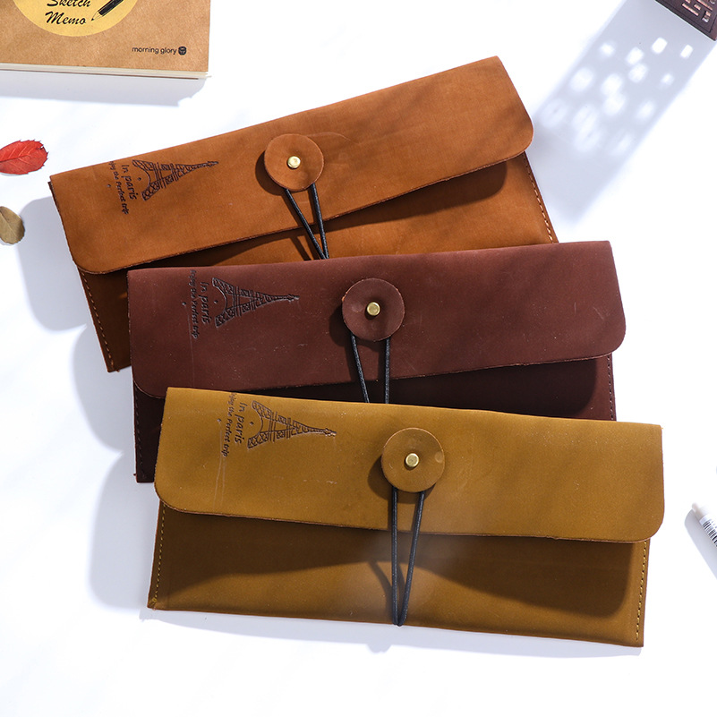 Vintage Retro Pencil Cases Pencil Bag Luxury Roll Leather PU Pen Bag Pouch Stationery School Office Supplies Gifts Cosmetic Bag