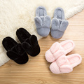 Lovely Rabbit Ear Autumn and Winter Cotton Home slippers lover's cartoon warm home shoes floor plush Winter slippers Women Shoes