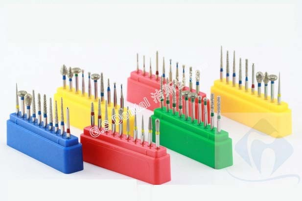10 Pieces/set dental high speed bur diamond polishing tooth preparation bur dental equipment with bur stand