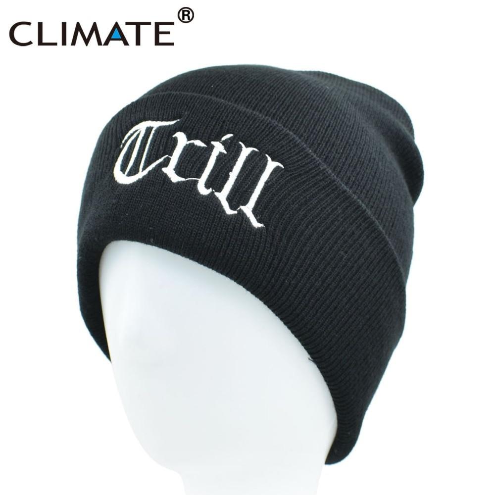 CLIMATE Men Trill Thug Life Hat   Beanie   Black Winter Warm Knit   Skullies     Beanie   Casual Cool Black Hip Hop Warm Hat For Men Women