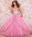 Rosa 2016 Vestidos Quinceanera Elegant Querida Beading Pedrinhas Vestidos De 15 Años Sweet 16 Vestidos Vestidos de Baile de Máscaras