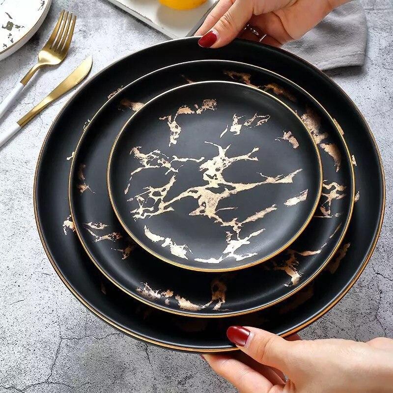 1 шт. 6/8/10 дюймовая посуда, роскошная мраморная обеденная тарелка с золотыми краями, уникальная матовая черная и белая посуда, кухонная тарелка, оптовая продажа|Блюдца и тарелки|   | АлиЭкспресс