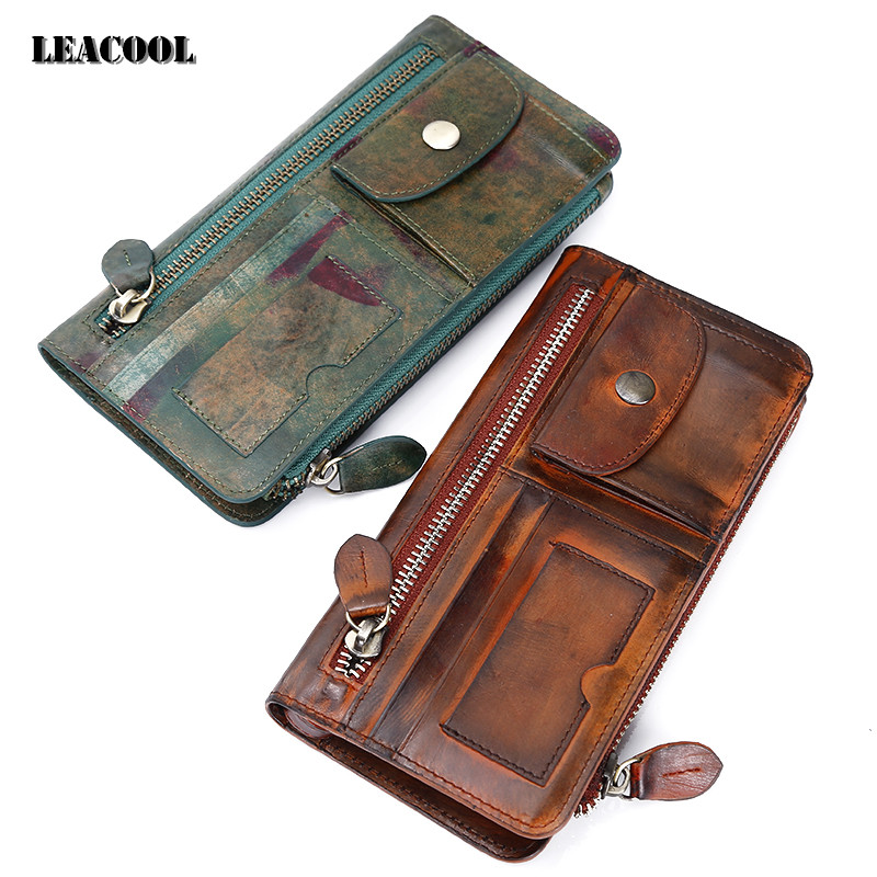 Leacool Men Wallets Brand Design High Quality Genuine Leather Wallet Female zipper Fashion Dollar Price Long Women Wallets  women wallets brand design high quality genuine leather wallet female zipper fashion dollar price long women wallets and purses