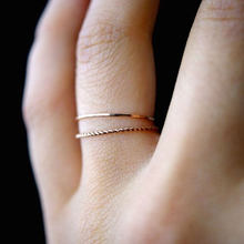 2Pcs Ring/Set Gold-color Twist Rope Stacking Simple Joint ring Fine Tail Ring Wedding Engagement Ring Size 6-10(China)