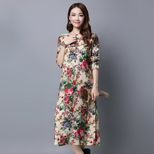 Women Vintage Floral Printed Casual Long Dresses Autumn Spring New Cotton Linen Long Sleeve Straight Loose Vestidos