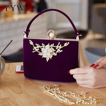 YYW Gold Crystal Flowers Plush Clutches Bag Party Purse Women Shoulder Bag Diamond Evening Bags Ballot Lock Handbag Clutch Bag red trunk clutch bag fashion brand diamond relief acrylic ballot lock luxury handbag evening bag clutch party purse shoulder bag