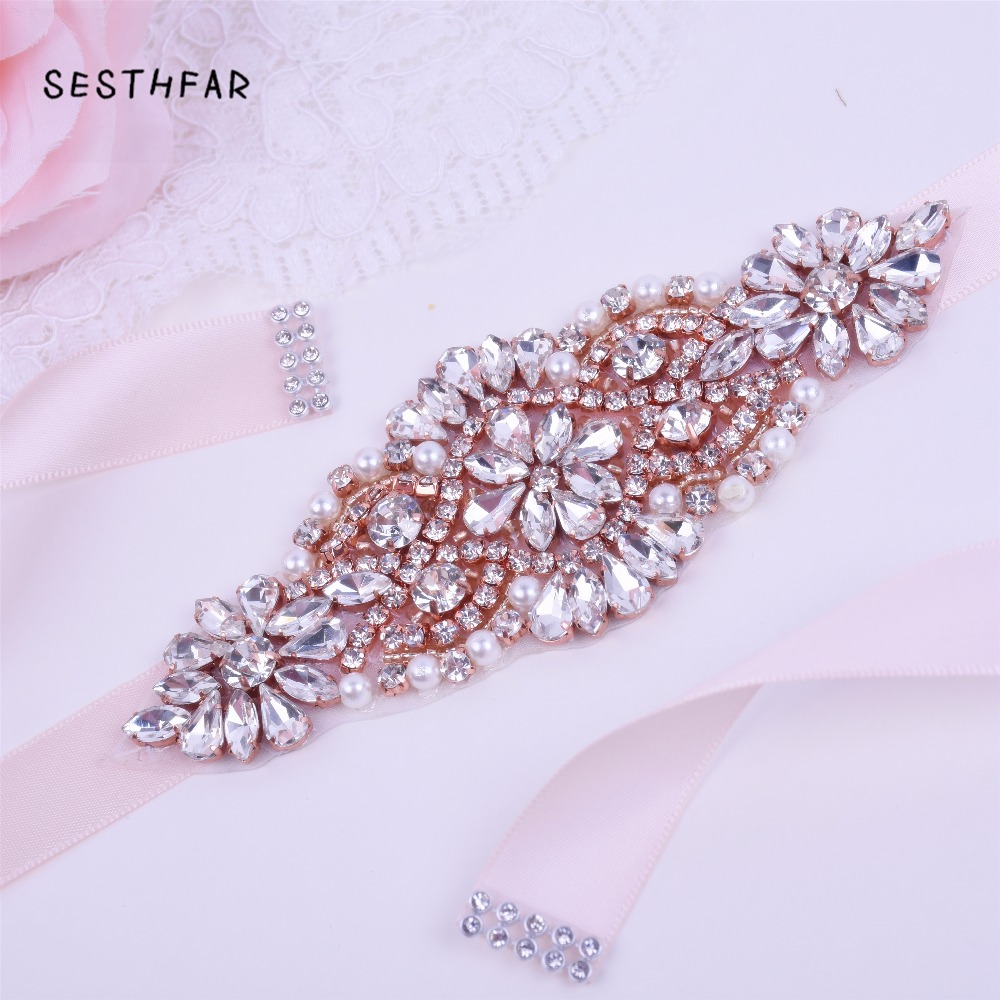 Ceinture Strass Wedding Belt Sash Rose Gold Crystal Pearl Bridal Belt Rhinestones Wedding Prom Dress Sash JY75FS