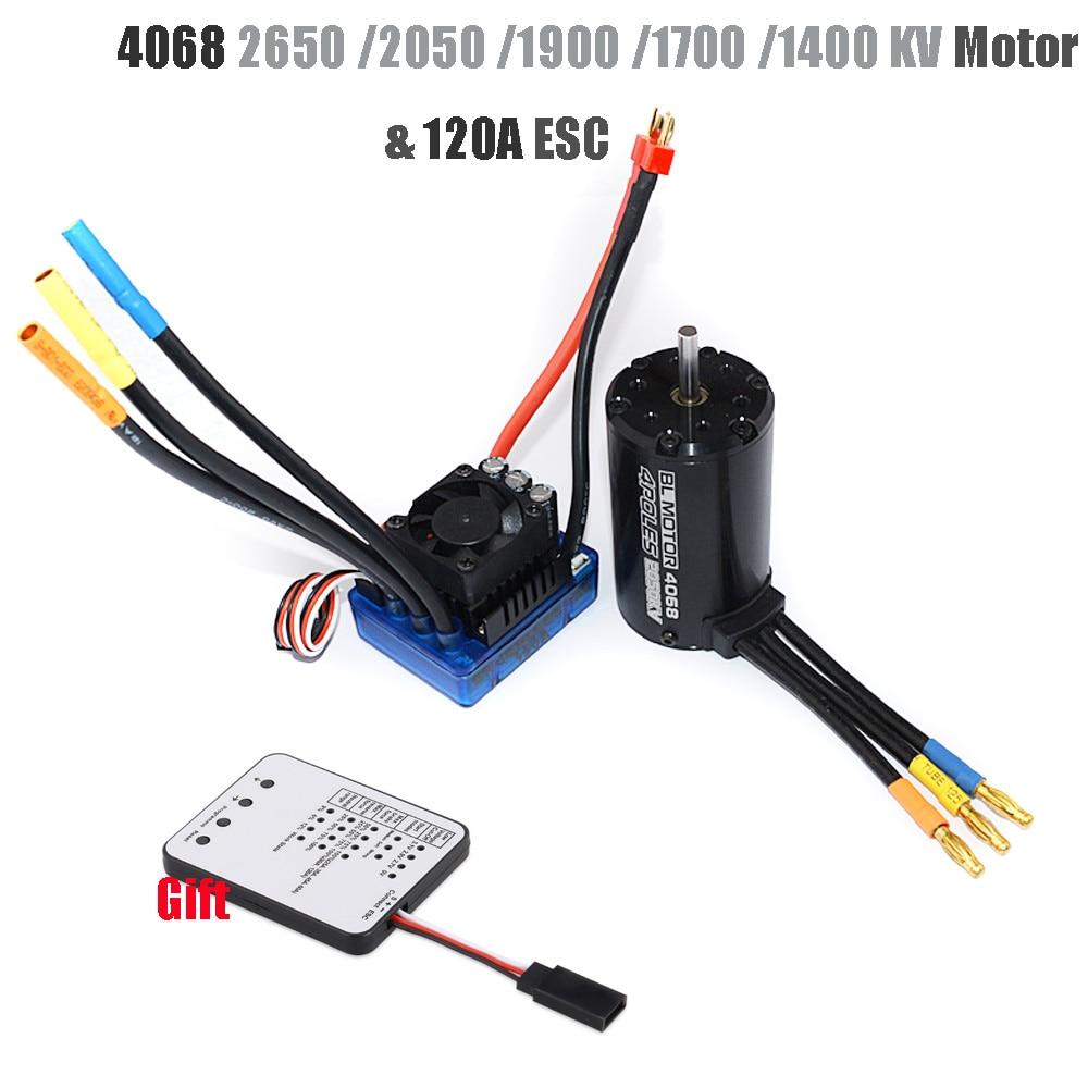 Rc sin escobillas impermeable Sensorless Motor 4068 2050KV 2650KV 1900KV 1700KV 1400KV con 120A ESC para 1/8 coches RC piezas del coche