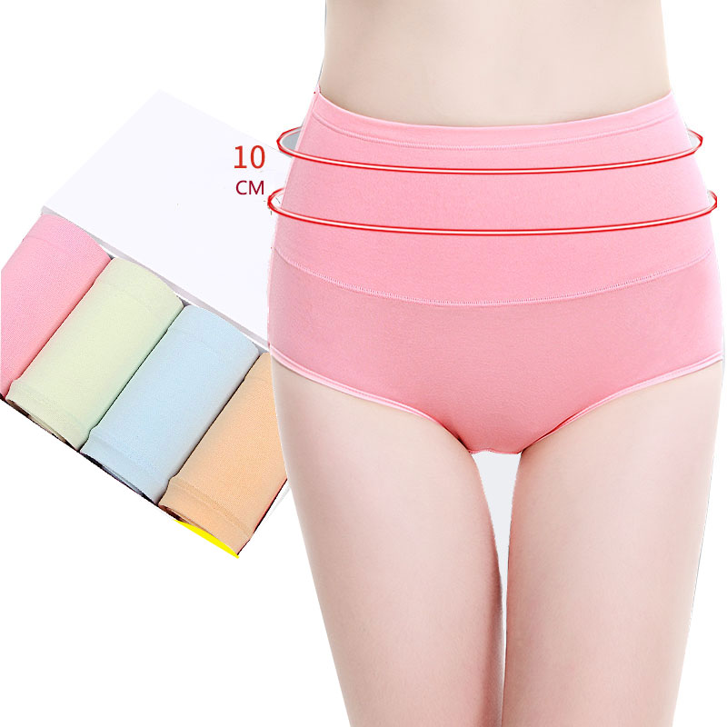 LANGSHA 4PCC/lot Women Panties High Waist Body Shaping Hip Briefs Cotton Breathable Lingerie Sexy Female Underwear Plus SizeXXL ...