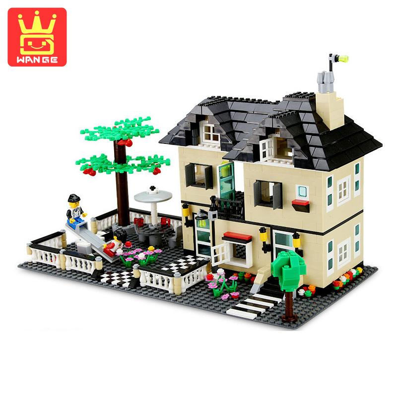 WANGE City Villa House DIY Model Building Blocks Bricks Sets 909 Pcs Assembly Educational Toys For Children Birthday Gifts wange city fire emergency truck action model building block sets bricks 567pcs classic educational toys gifts for children