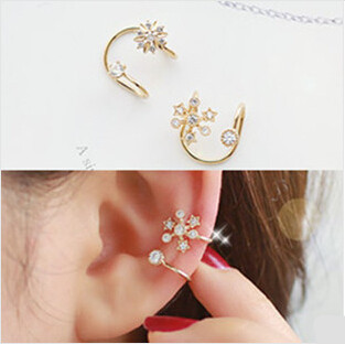 2017 Luxury artificial crystal snowflake clip earrings women,Fashion gold color flower earrings,E281 Girls Costume jewelry - Fadjollys HJ Store store