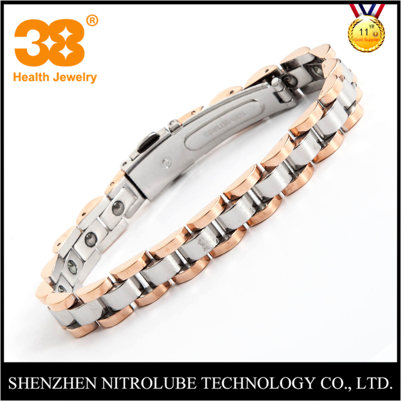 38 Hot Sale Full Germanium High Polished Chain Link Charm Unisex Bracelet Trendy Stainless Steel Fashion Bracelet Bangle Womens 38 fashion health magnet charm bracelet full pure 99 9