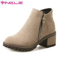VINLLE 2018 Women Boots Shoes Ankle Boots Scrub Square High Heel PU Leather Black Autumn Ladies