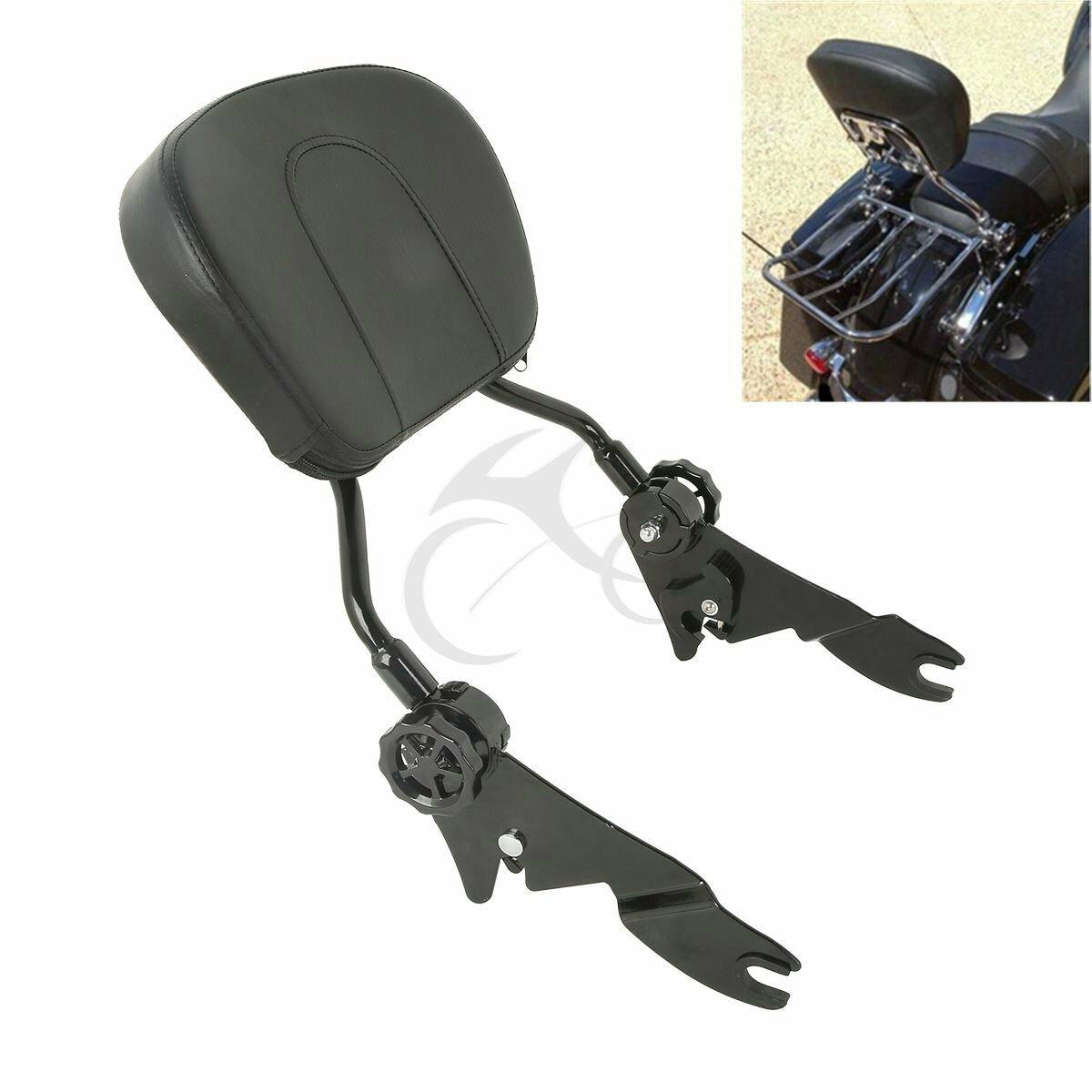 Motorcycle Black/Chrome Adjustable Sissy Bar Passenger Backrest W/ Pad For Harley Touring Models  Street Road Glide 2009+