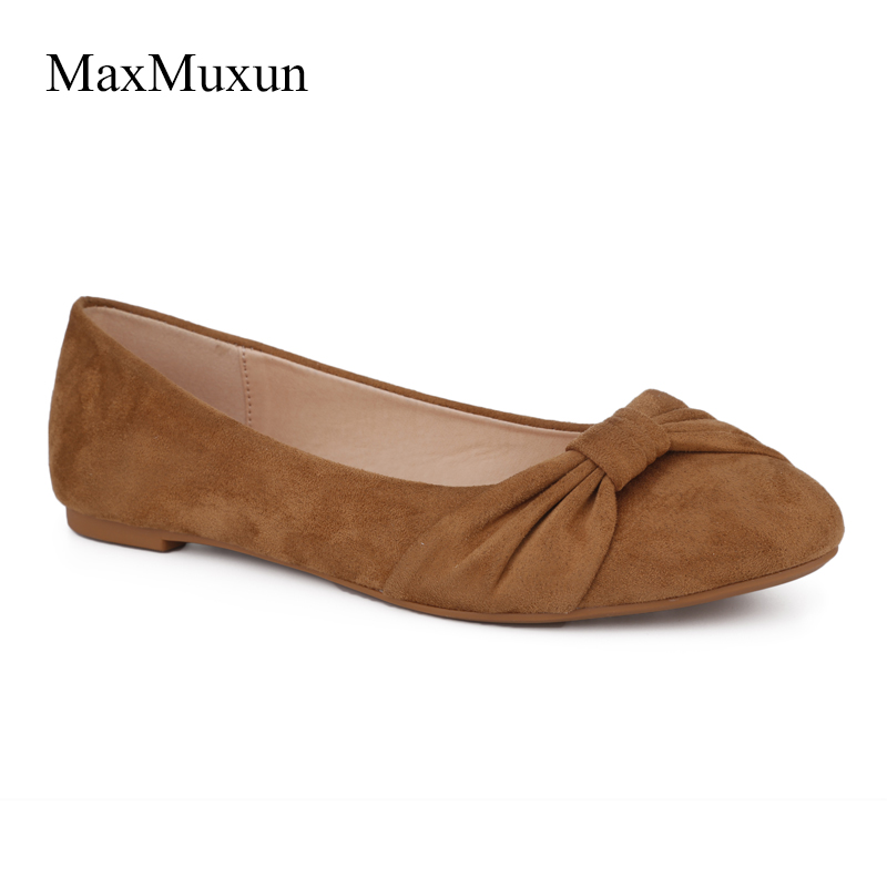 MaxMuxun Women Ballet Flats Ladies Round Toe Faux Suede Black Woman Flats Shoes Slip On Causal Loafers For Spring