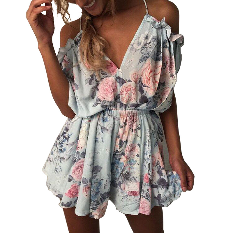 Summer 2018 Women Floral Print Playsuit Strap Loose Rompers Ruffles Off Shoulder Sleeveless   Jumpsuit   Backless Sexy Overall
