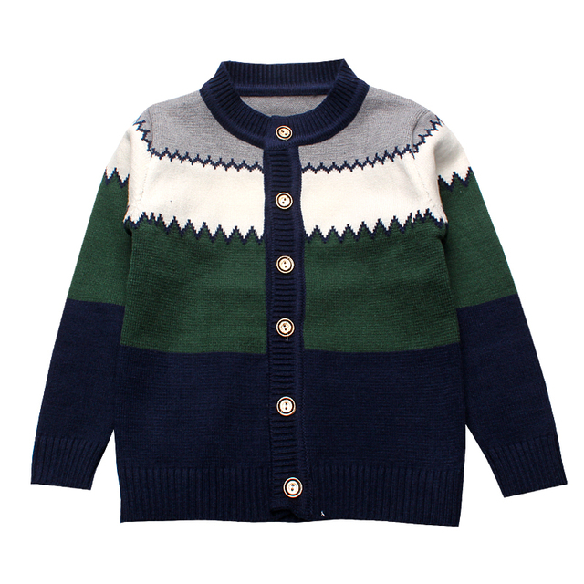 2016 Boys Sweaters Striped Cotton Top Knit Infant Outfit With Button Boy Tee Winter Warm Outerwear Cute Kids Clothes Cardigans