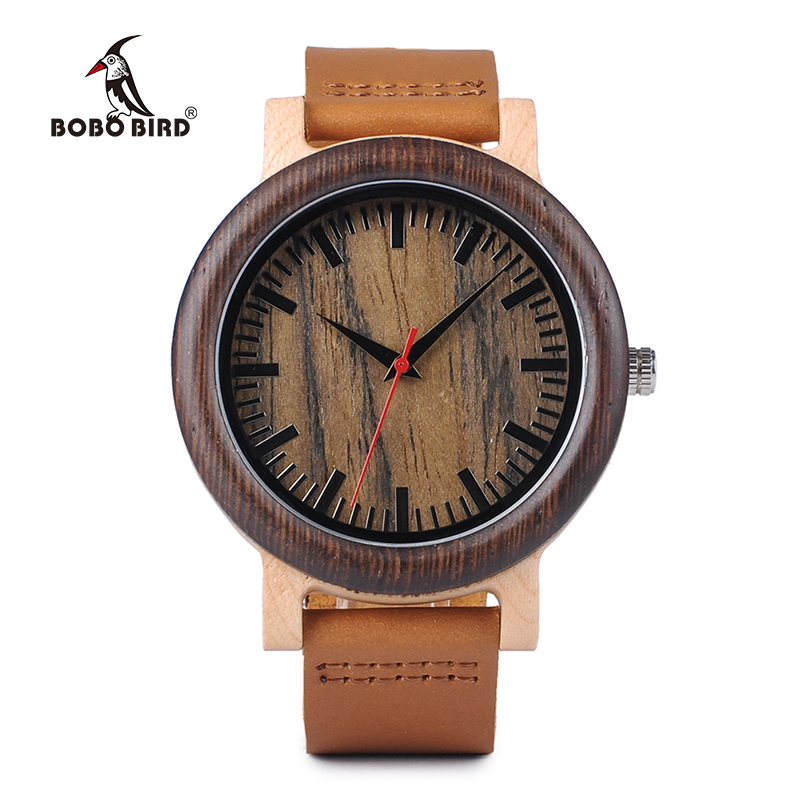 BOBO BIRD Men <font><b>Watch</b></font> Quartz Movement Wooden Timepiece Unisex Leather Band Gift relogios masculinos J-M1314 image