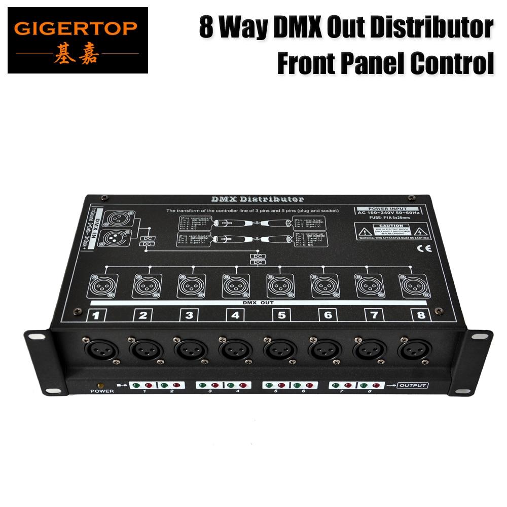Freeshipping TP-D1307 8 Way DMX Spliter Front Control Panel Side Signal Input 80V-256V Voltage  Separate Signal Amplifier System